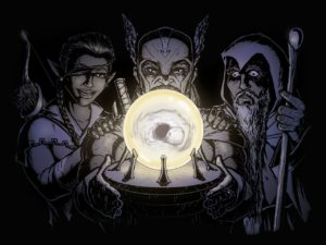 A crystal ball illuminates a mage, a hunter, and a soldier with a vision of an empty tomb.